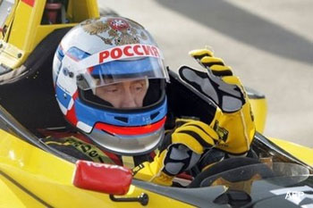 Russia's Putin hits the track in a Formula One car