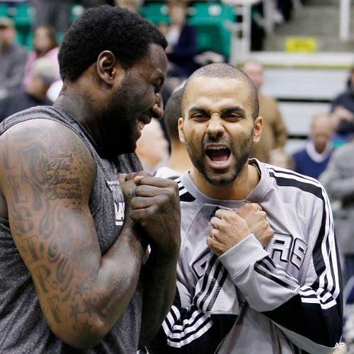 C-a-C: DeJuan Blair and Tony Parker ride the Excitebike