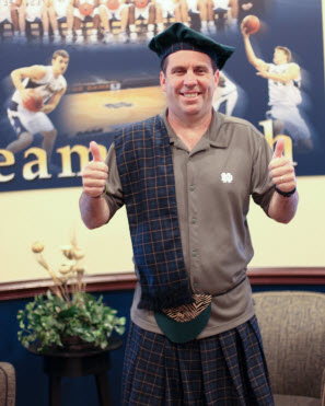 Notre Dame's Mike Brey may be wearing a kilt on the sidelines
