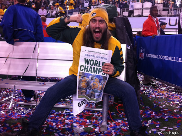 Crazy Italian Packers fan celebrates on the Super Bowl field