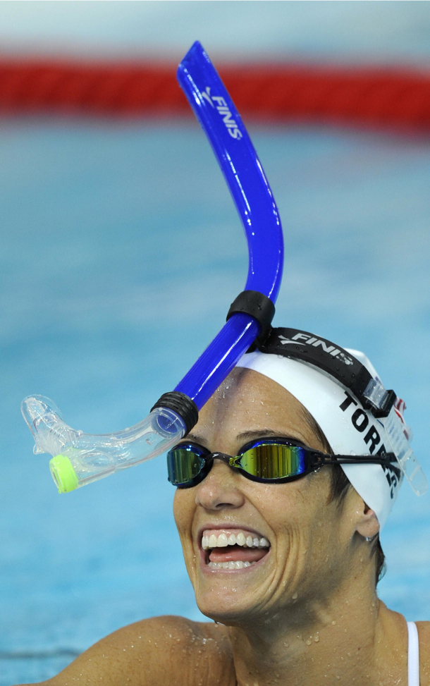 Create-a-Caption: Dara Torres tries out a new breathing technique