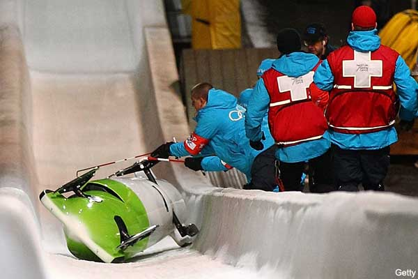 German bobsledding favorites in frightening crash