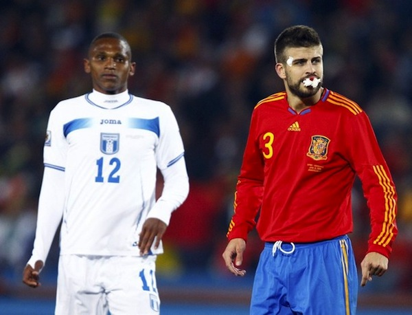 Gerard Pique is having a very bloody World Cup