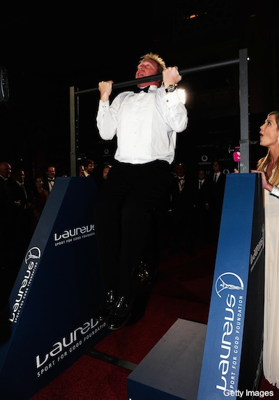 Here's a picture of Boris Becker during chin-ups in a tuxedo