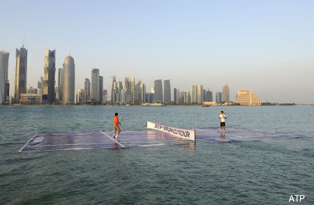 More pictures of Federer and Nadal's match on water
