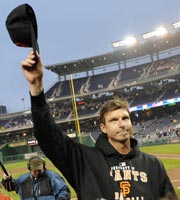 Randy Johnson was the last pitcher to win 300 career games, doing it as a Giant in 2009. (Y! Sports)