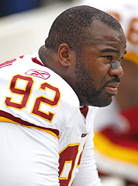 Albert Haynesworth was suspended for the Washington Redskins' final four games in 2010. (USA TODAY Sports)