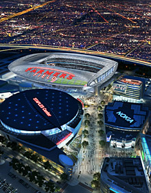 AEG's proposed NFL football stadium, to be named Farmers Field, is depicted next to Staples Center in Los Angeles. (AP)
