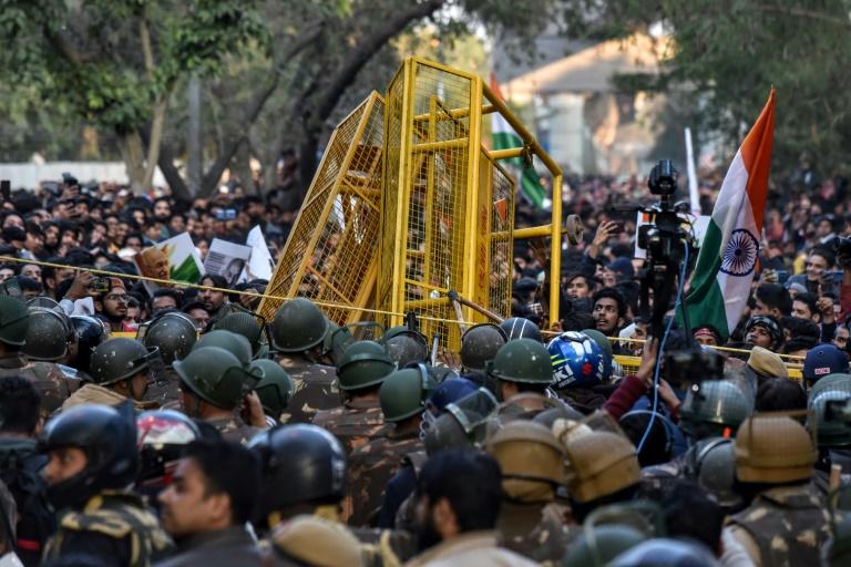 Suspected Hindu nationalist opens fire at Delhi student demo