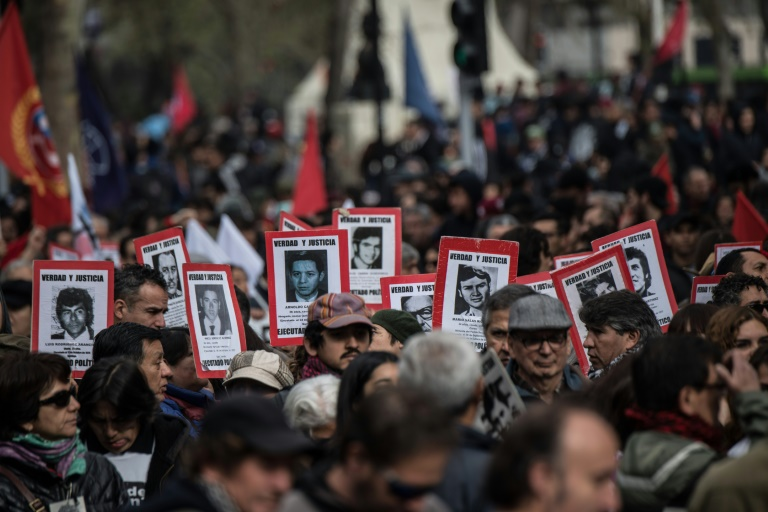Mass protest in Santiago against abuses of Pinochet era