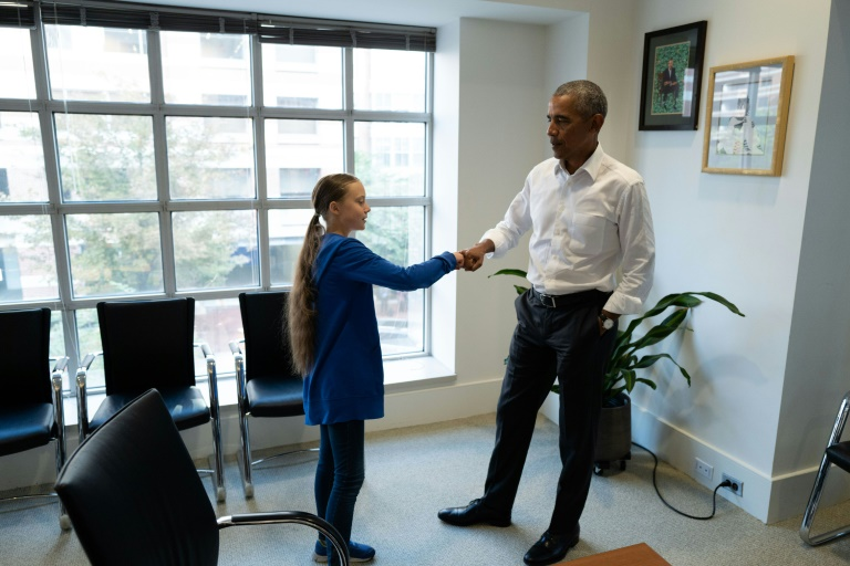 Climate activist Greta Thunberg meets with Obama in Washington