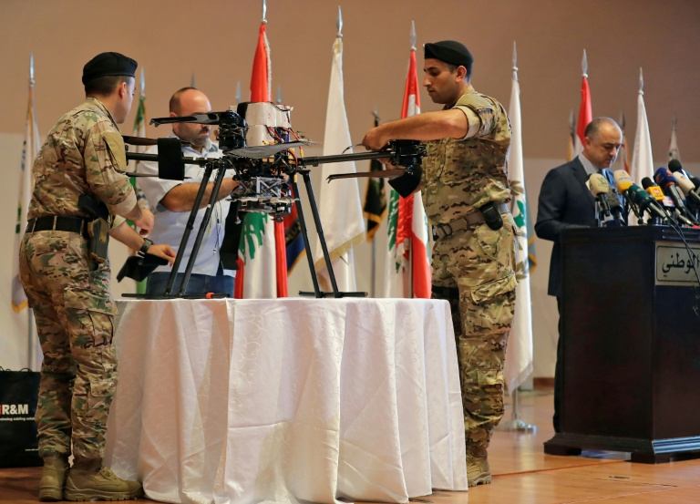 Lebanon exhibits drones used in alleged Israeli attack