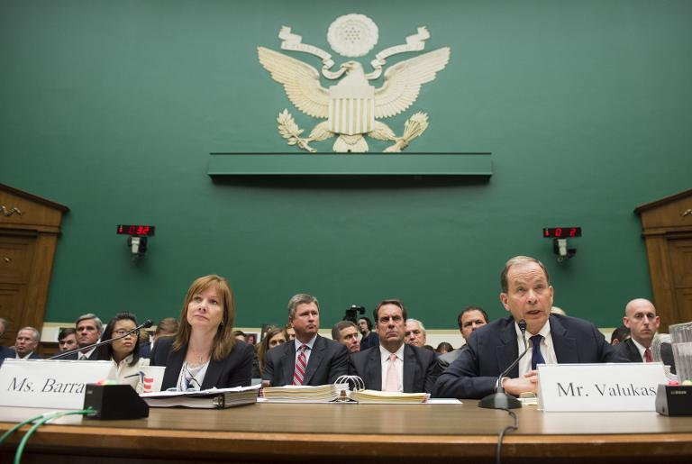 General Motors CEO Mary Barra and Anton Valukas, head of GM's internal recall investigation, testify on the GM ignition switch recall during a US House Oversight and Investigations Subcommittee in Washington on June 18, 2014