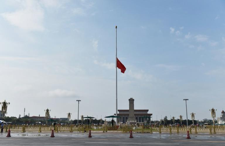 China flag flies at half-mast for Tiananmen crackdown leader