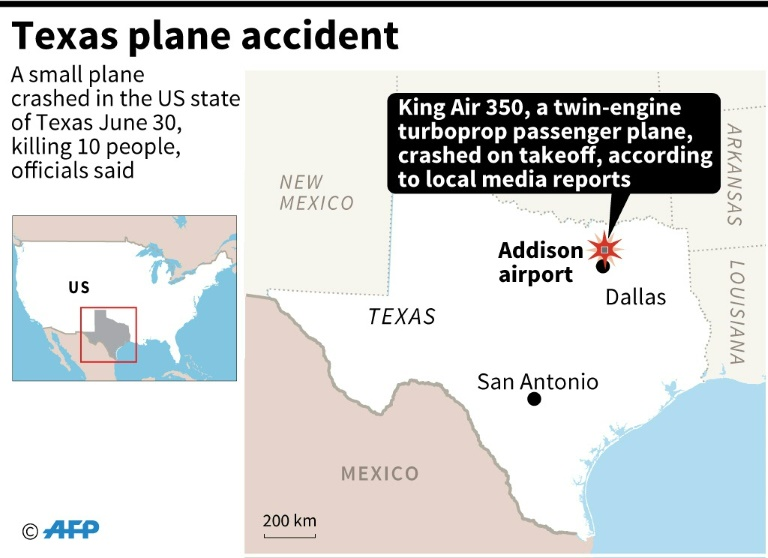 Plane crash in Texas kills 10 people: officials