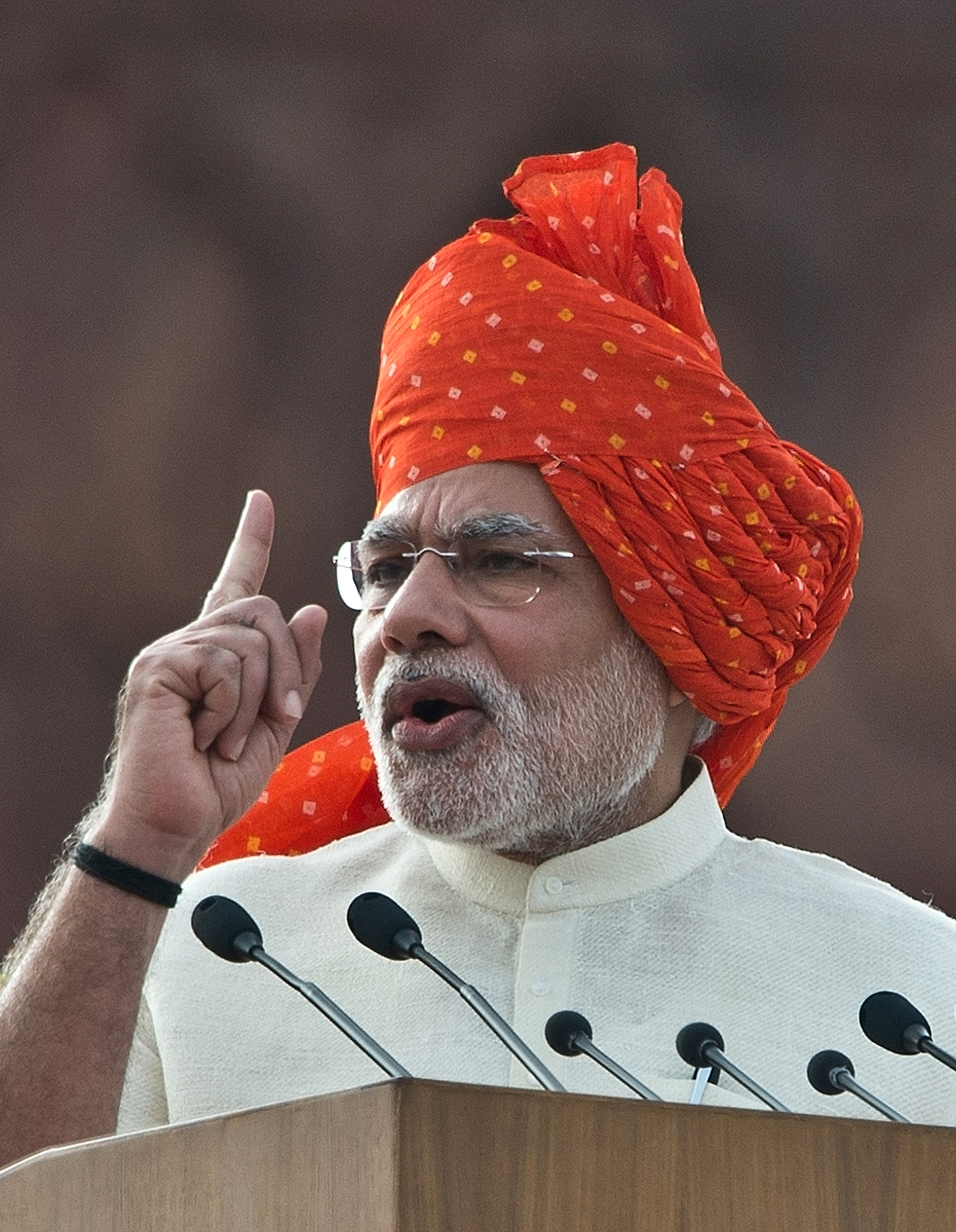 India's Prime Minister Narendra Modi delivers a speech from the Red Fort in New Delhi