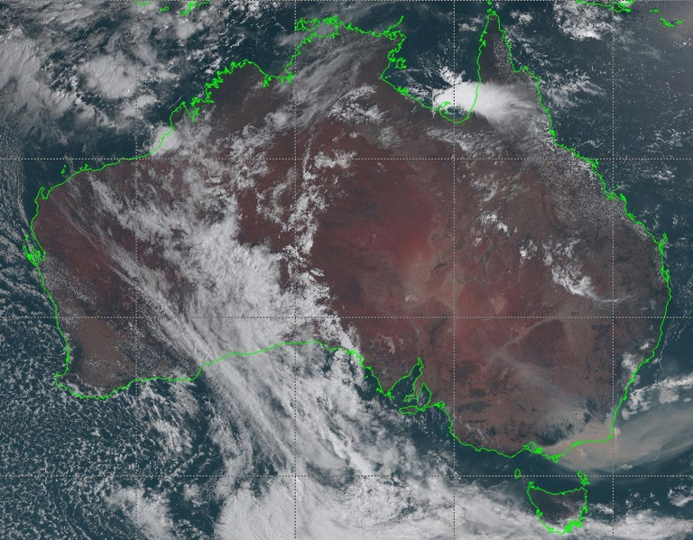 Australian bushfire cloud visible in Chile and Argentina