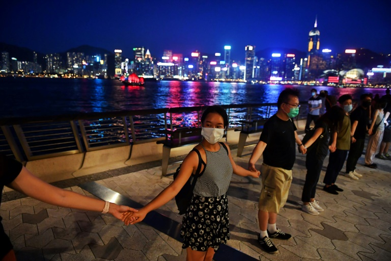 Hong Kong protesters form human chain 30 years after Baltic Way