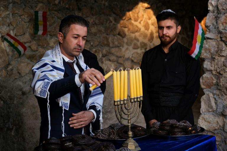 Hanukkah candles burn in Iraqi Kurdistan