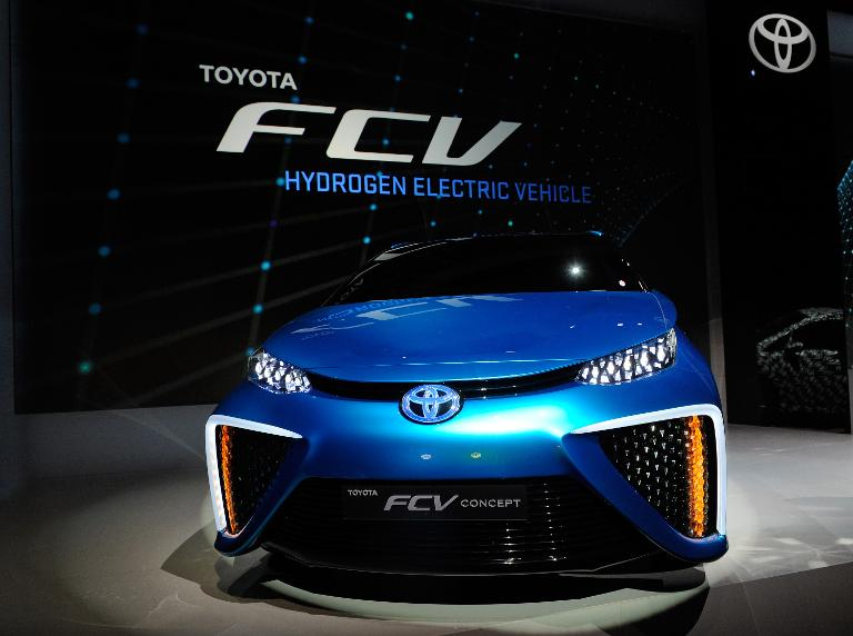 A Toyota fuel cell concept vehicle is displayed during…