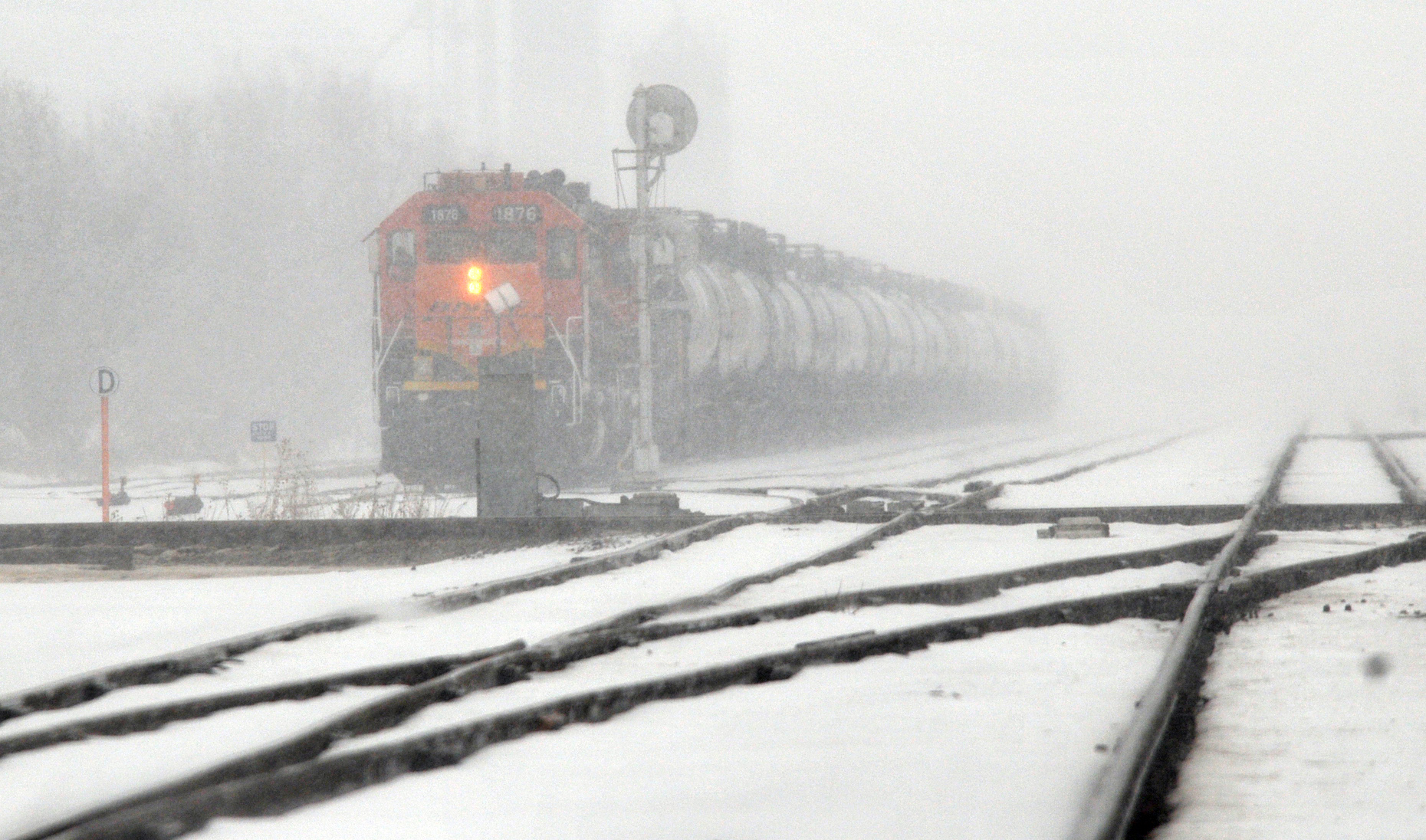 A BNSF train engine in Kansas. (AP Photo/The Hutchinson News, Sandra Milburn)