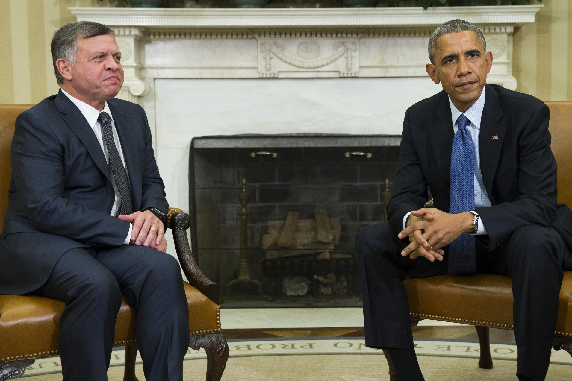 President Barack Obama, right, meets with King Abdullah II of Jordan in the Oval Office of the White House, on Tuesday, Feb. 3, 2015, in Washington. The meeting comes after Jordanian Air Force pilot First Lt. Moaz al-Kasasbeh was executed by the Islamic State group. (AP Photo/Evan Vucci)