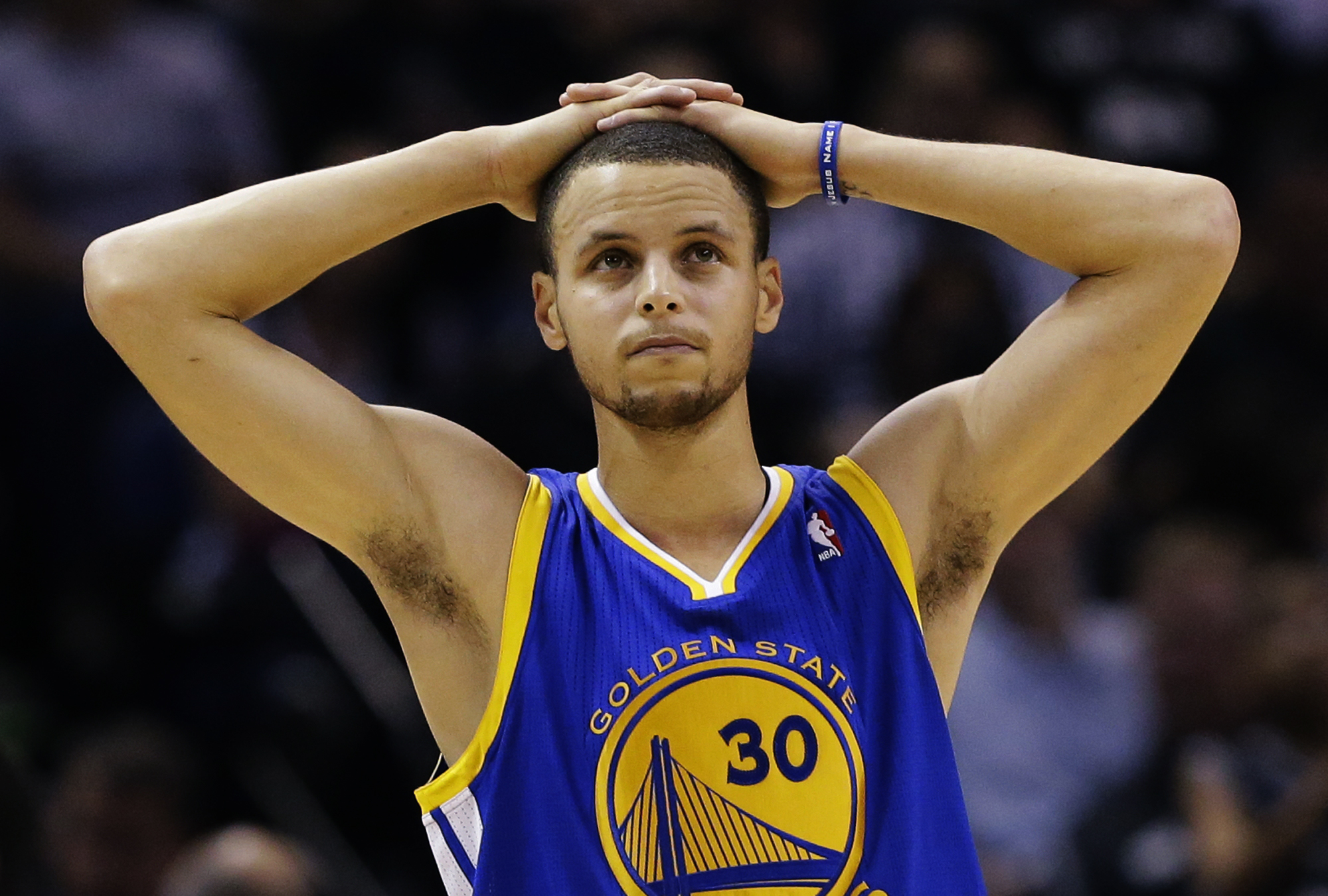 Stephen Curry scored nine points on 4-of-14 shooting in the Warriors' Game 5 loss to the Spurs. (AP)