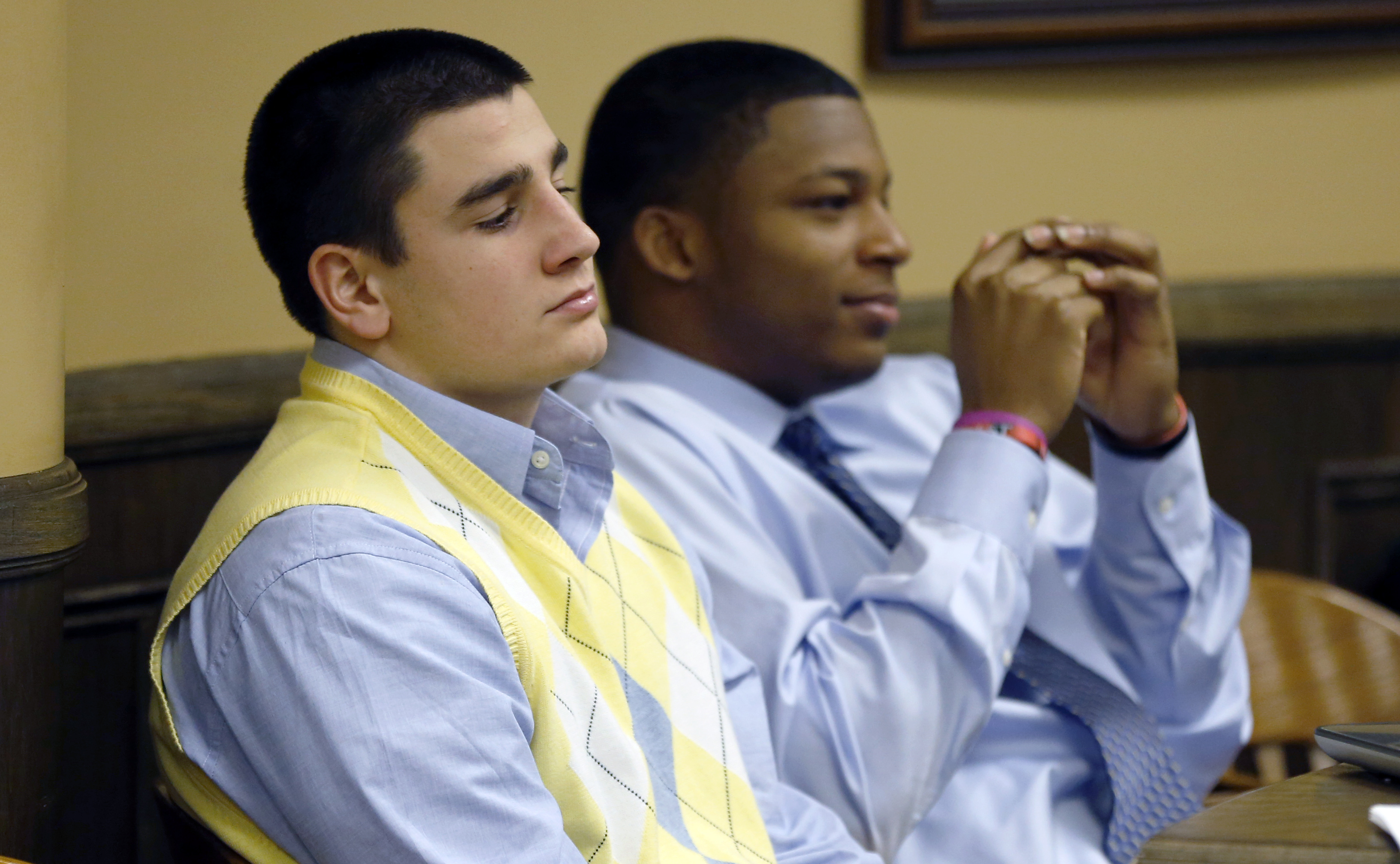 Trent Mays left, and Ma'lik Richmond are on trial for the alleged rape of a 16-year-old girl. (AP)