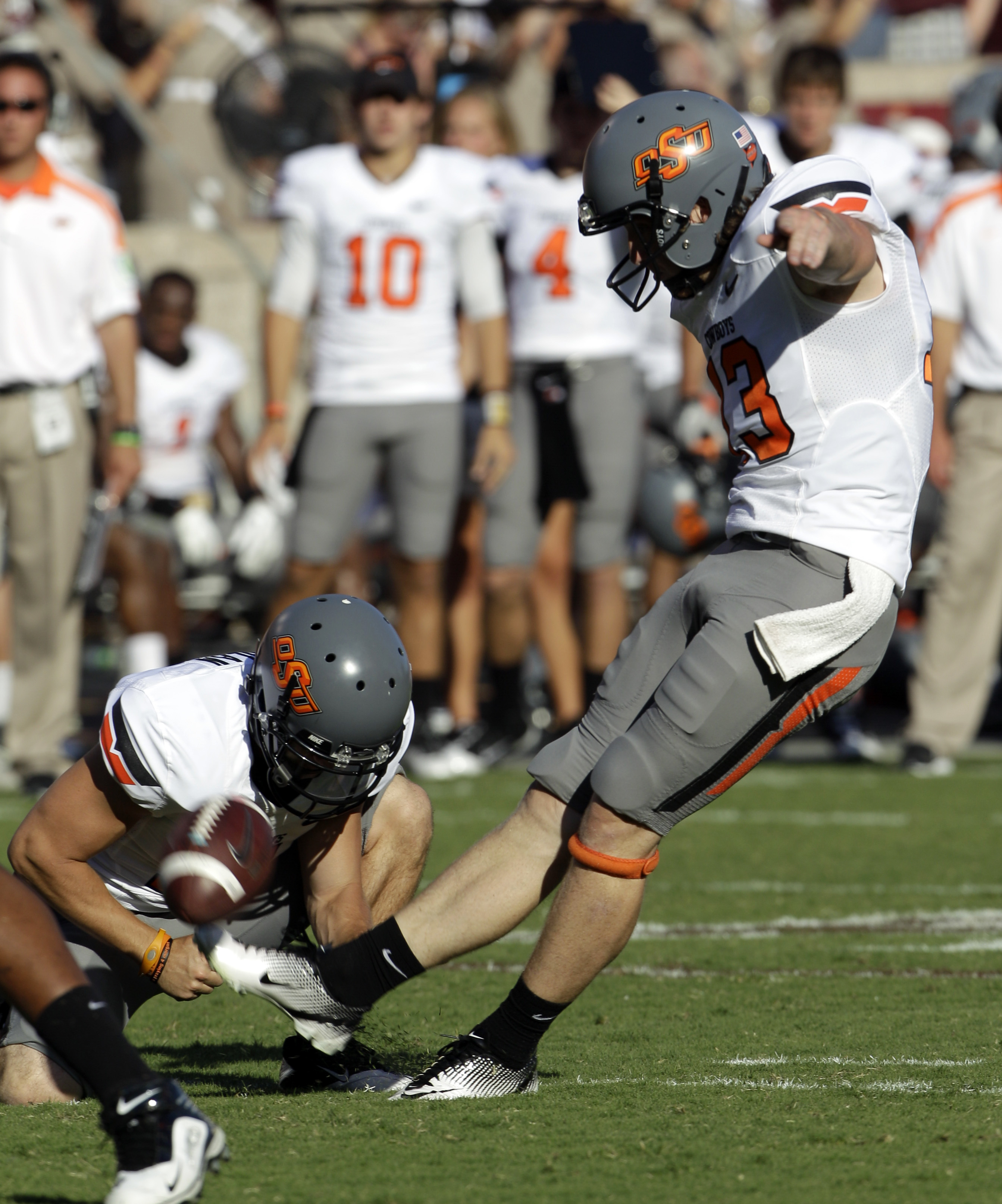 Quinn Sharp has one of the strongest legs in the nation, as a kicker and as a punter. (AP)