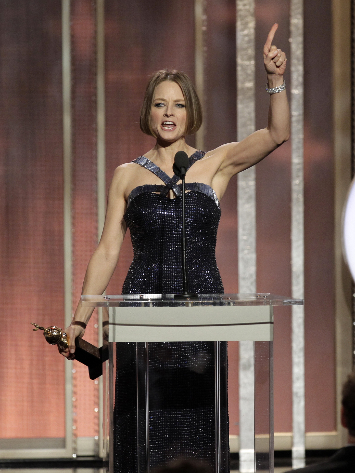 Jodie Foster during the 70th Annual Golden Globe Awards in 2013 (Photo: AP/NBC, Paul Drinkwater)