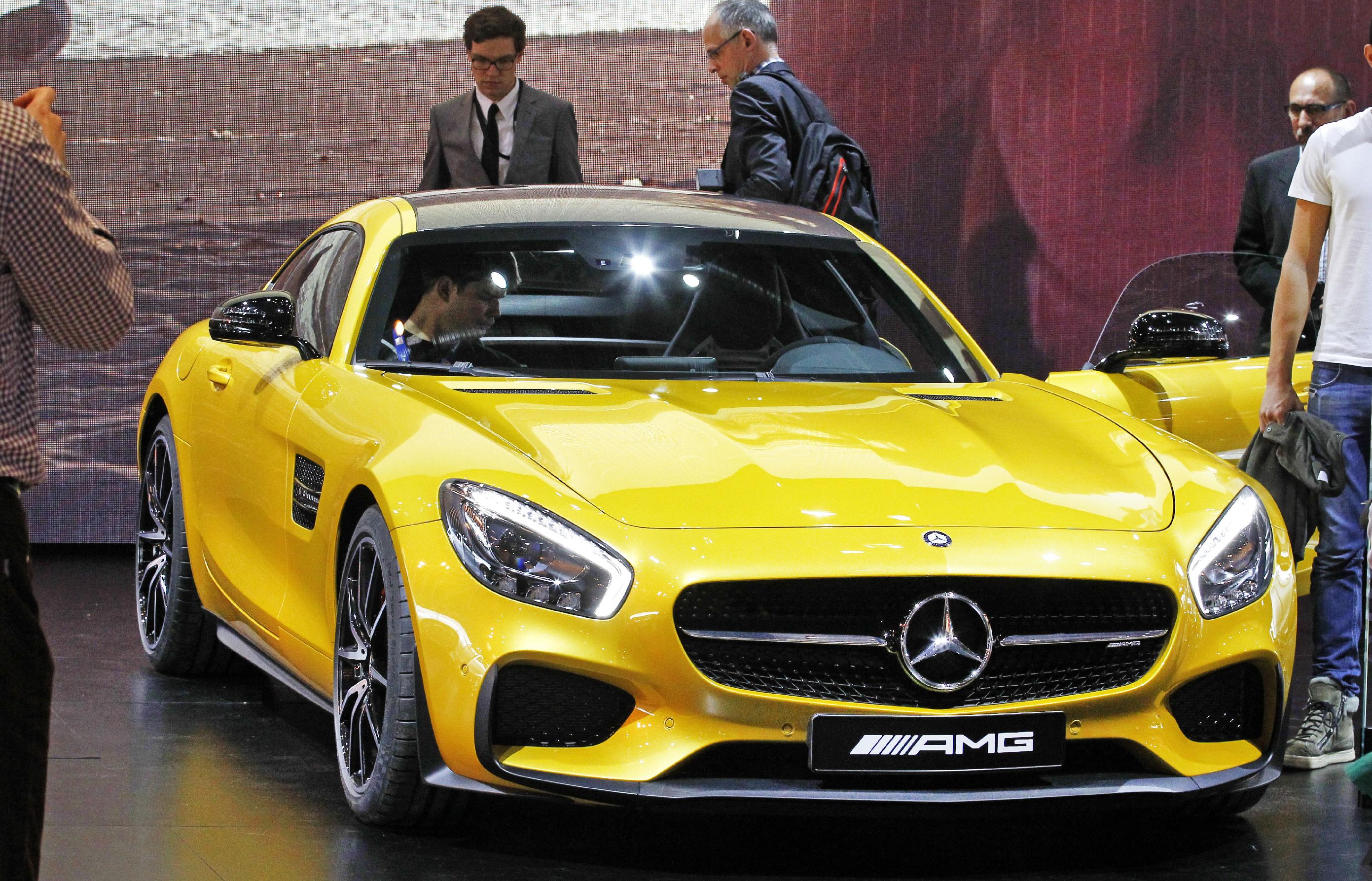 The Mercedes AMG GT S is presented at the Paris Motor Show, in Paris, Friday Oct. 3, 2014.  (AP Photo/Remy de la Mauviniere)