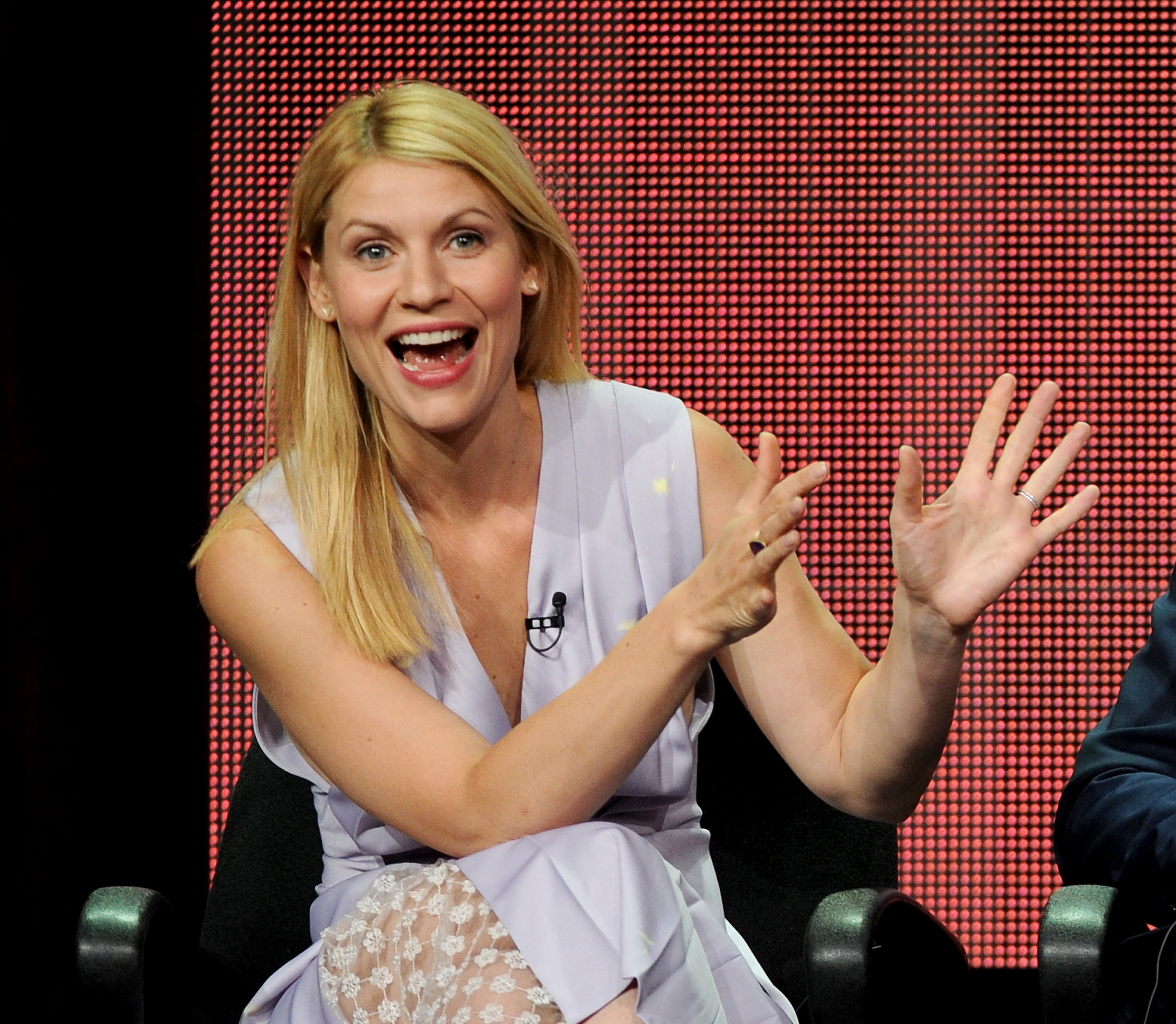 "Actor Claire Danes participates in the ""Homeland"" panel at the 2013 Showtime Summer TCA Press Tour at the Beverly Hilton Hotel on Monday, July 29, 2013 in Beverly Hills, Calif. (Photo by Frank Micelotta/Invision/AP)"