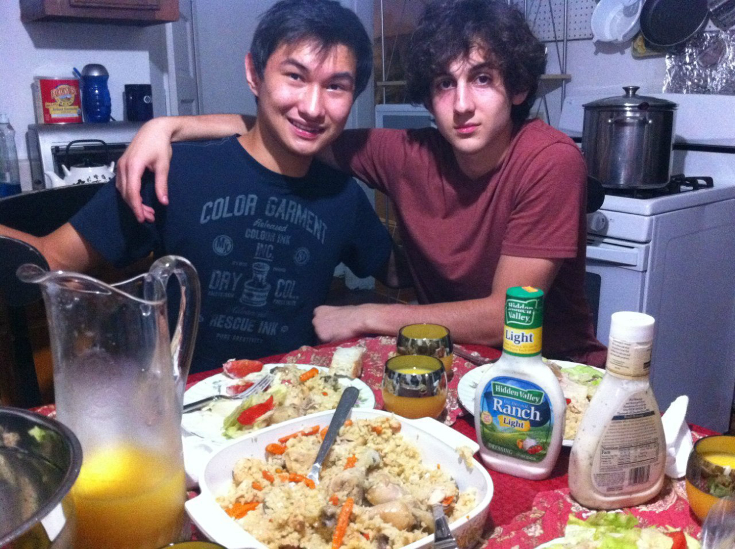 This undated photo found on the VK page of Dias Kadyrbayev shows Kadyrbayev, left, with Boston Marathon bombing suspect Dzhokhar Tsarnaev, at an unknown location. Kadyrbayev and Azamat Tazhayakov, two college buddies of Tsarnaev from Kazakhstan, were jailed by immigration authorities the day after his Tsarnaev's capture. They are not suspects, but are being held for violating their student visas by not regularly attending classes, Kadyrbayev's lawyer, Robert Stahl said. They are being detained at a county jail in Boston. (AP Photo/VK)