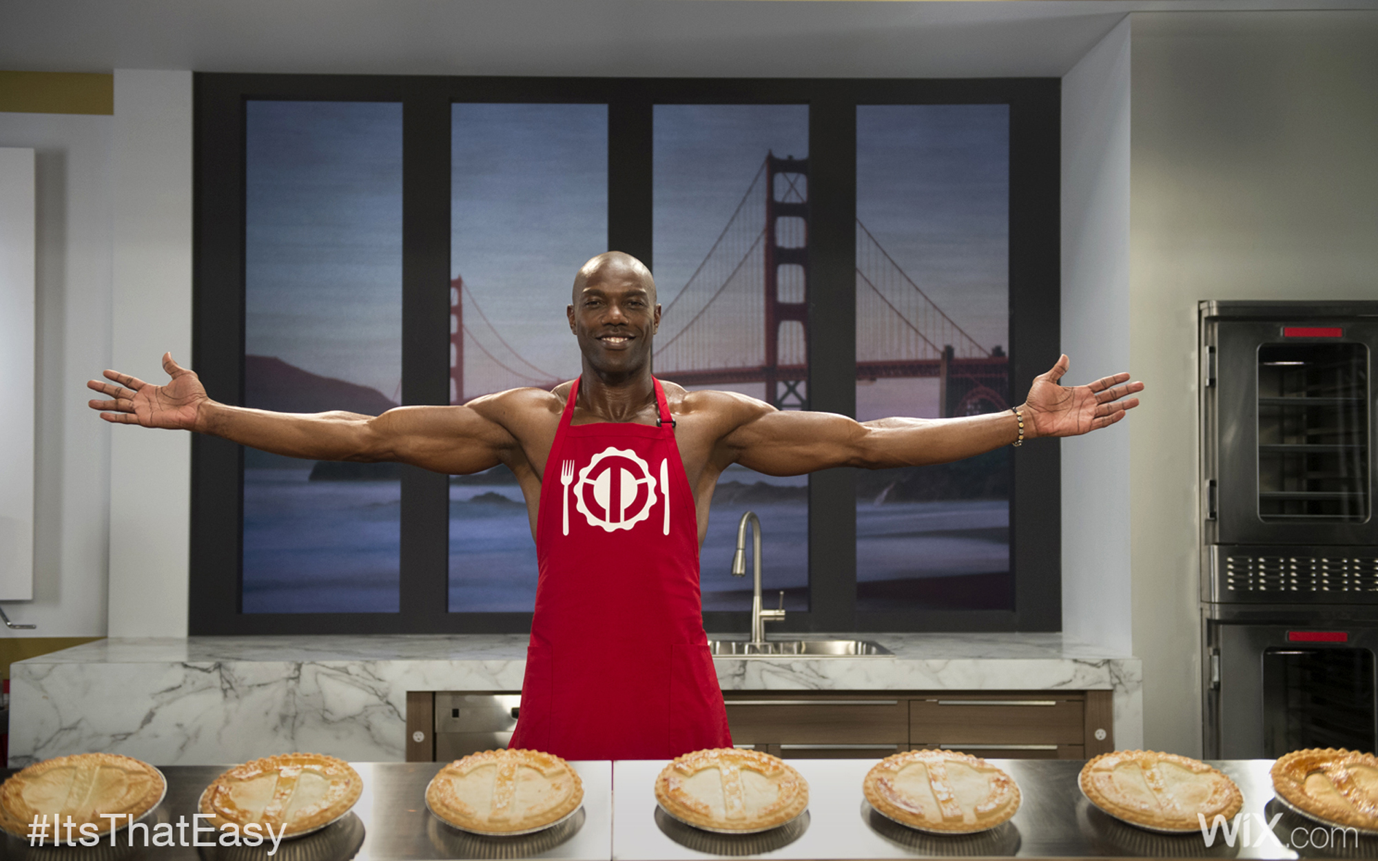 This image provided by Wix.com shows a portion of the company's television ad scheduled to be aired during the Super Bowl on Sunday, Feb. 1, 2015, this one featuring retired football player Terrell Owens. (AP Photo/Wix.com, Erik Isakson Photographics)