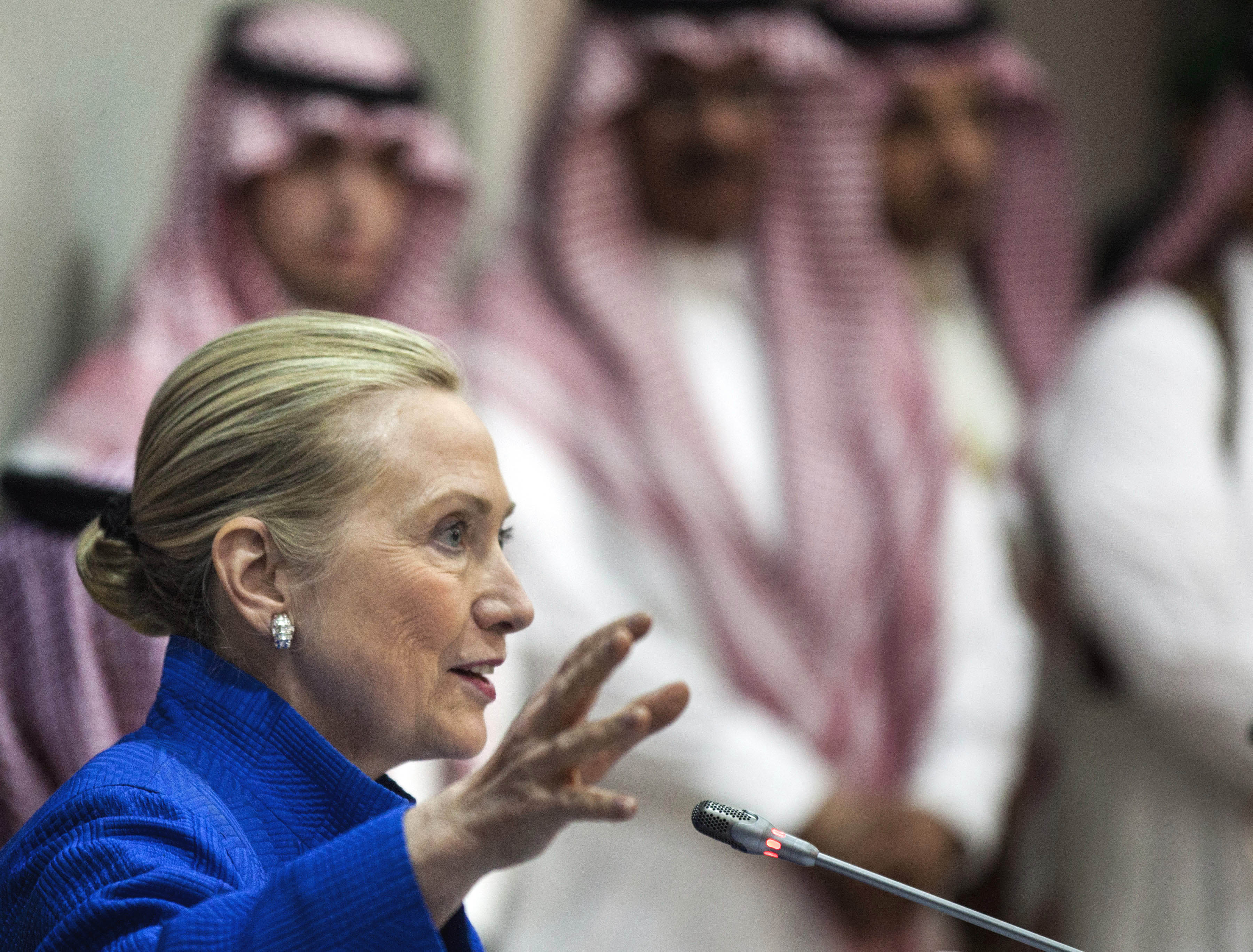 U.S. Secretary of State Hillary Clinton speaks during a joint press conference with Saudi Foreign Minister Prince Saud al-Faisal, not seen, following a U.S.-Gulf Cooperation Council forum at the GCC secretariat in Riyadh, Saudi Arabia on Saturday, March 31, 2012. Clinton geared up for talks in Saudi Arabia about plans for a Gulf missile shield against Iran and ways to press Tehran's ally Syria to stop killing Syrians. (AP Photo/Brendan Smialowski, Pool)