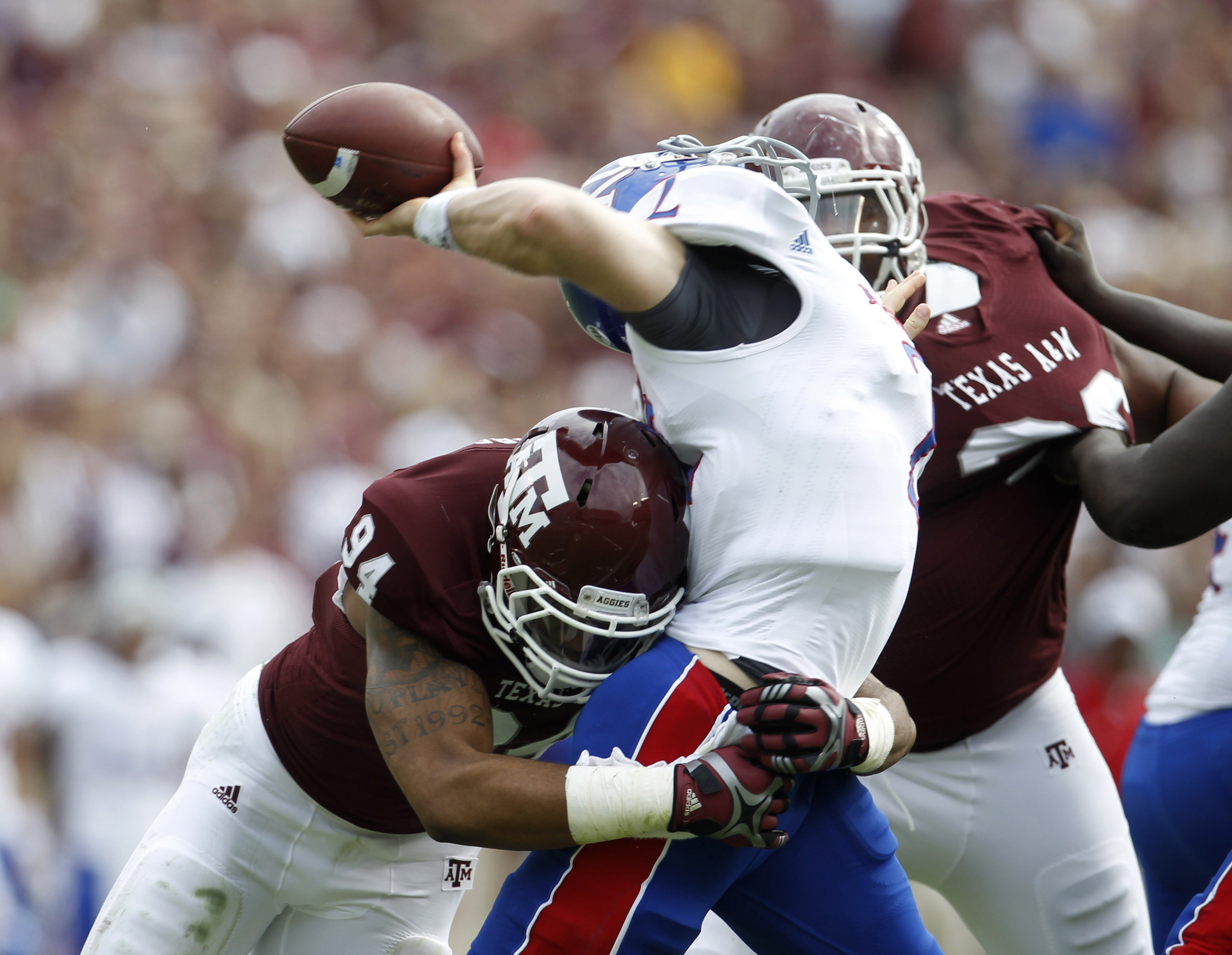 Damontre Moore's pass-rushing ability will be key for A&M. (AP/Houston Chronicle)