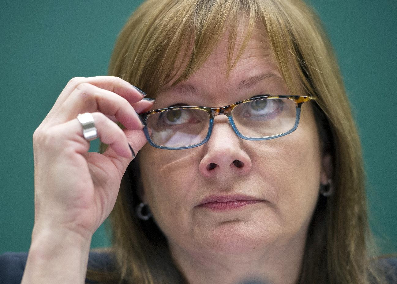General Motors CEO Mary Barra listens while testifying …