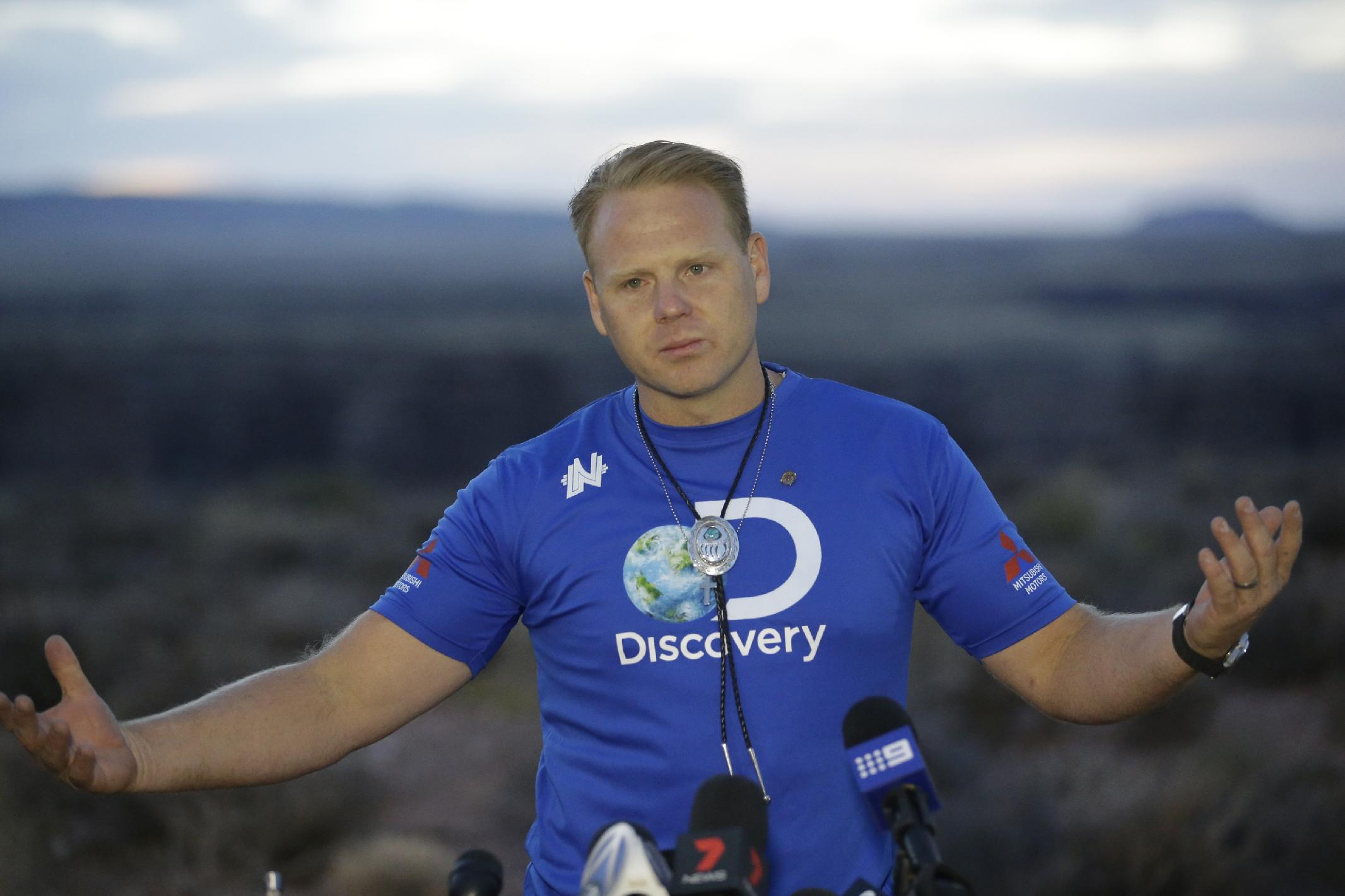 Nik Wallenda at a news conference after the Grand Canyon on Sunday, June 23, 2013. (AP Photo/Rick Bowmer)
