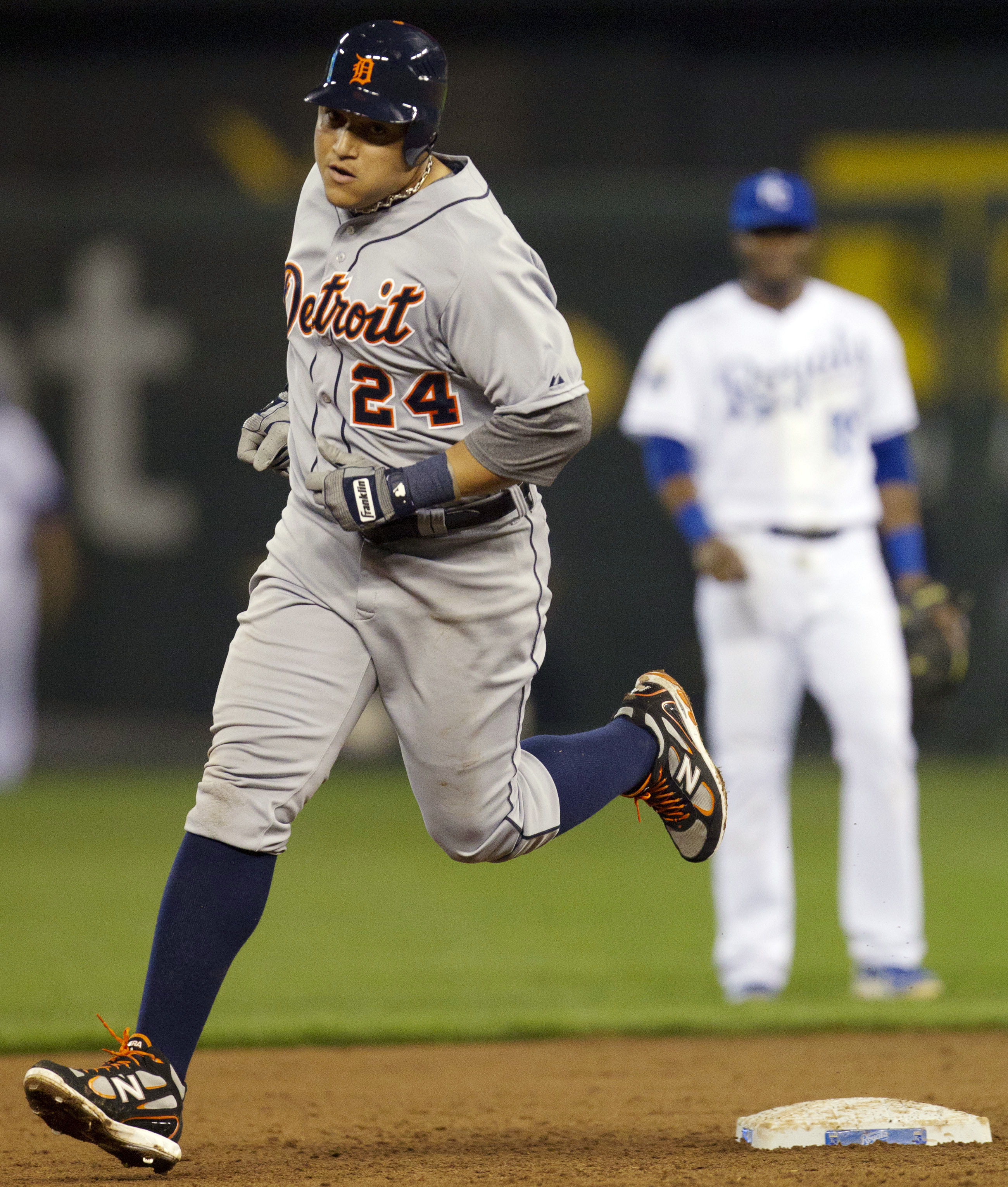 Miguel Cabrera rounds the bases after hitting his major league-leading 44th home run. (AP)