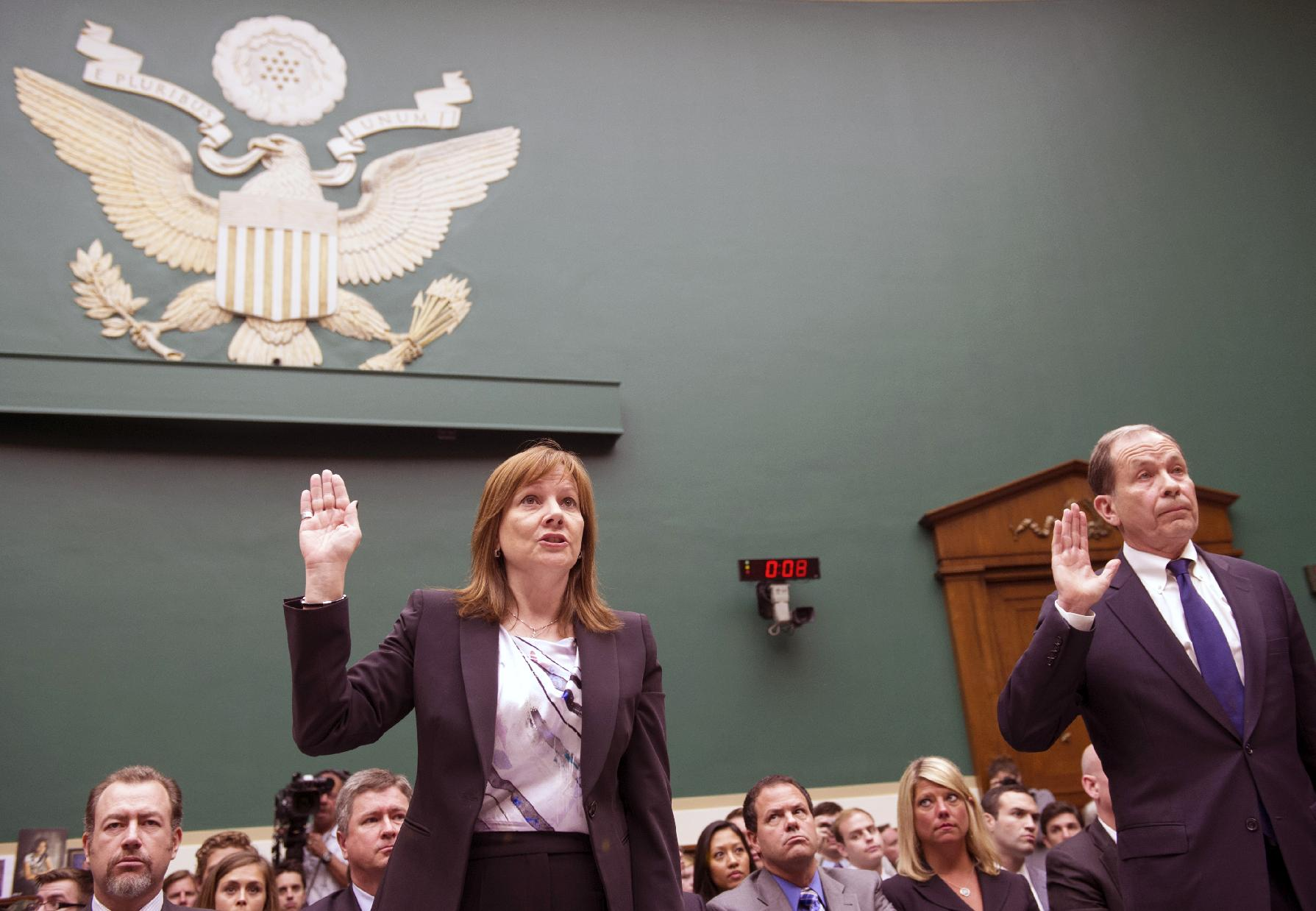 General Motors CEO Mary Barra, CEO, left, and former …