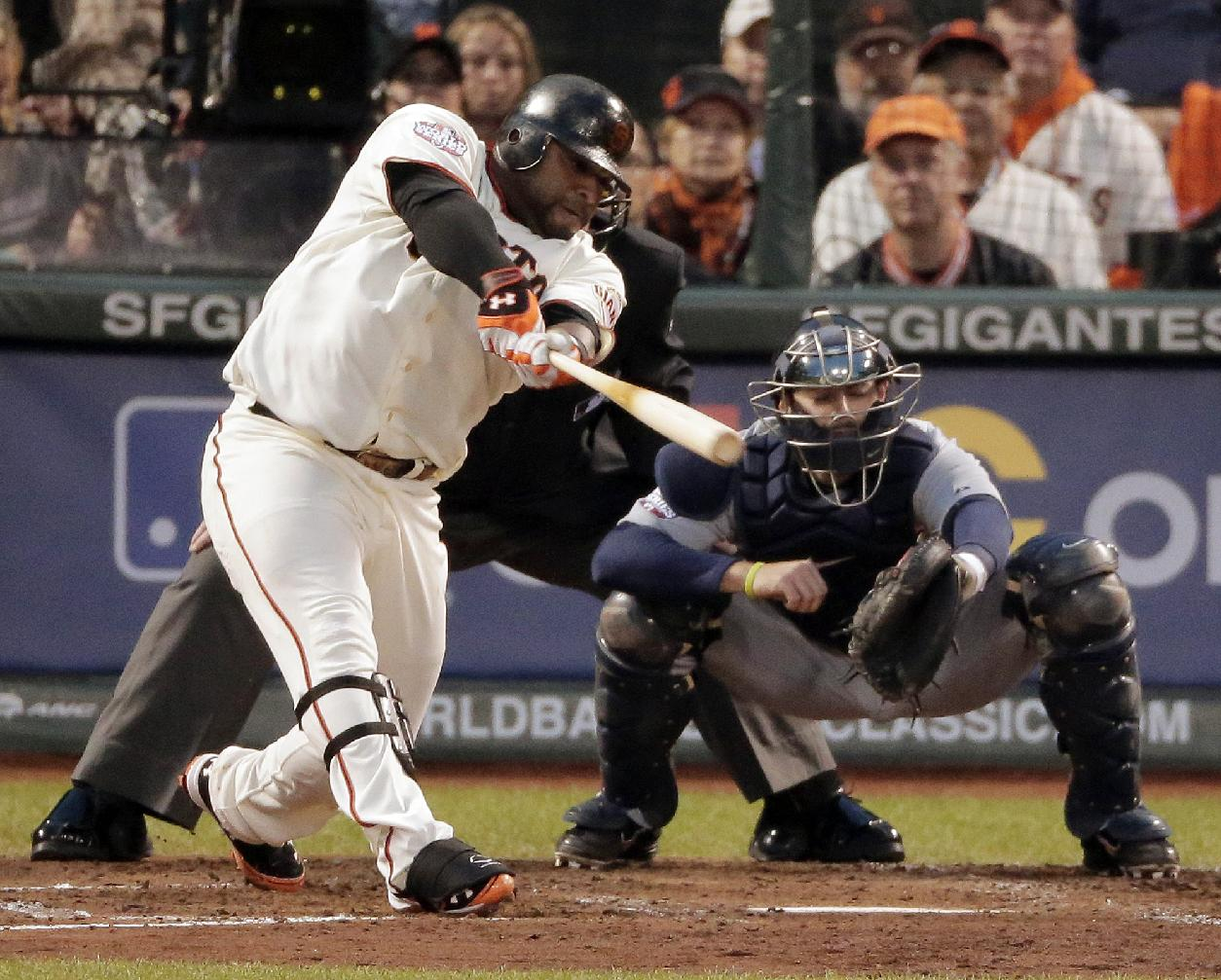 Pablo Sandoval hits his second home run against Justin Verlander on Wednesday. (AP)