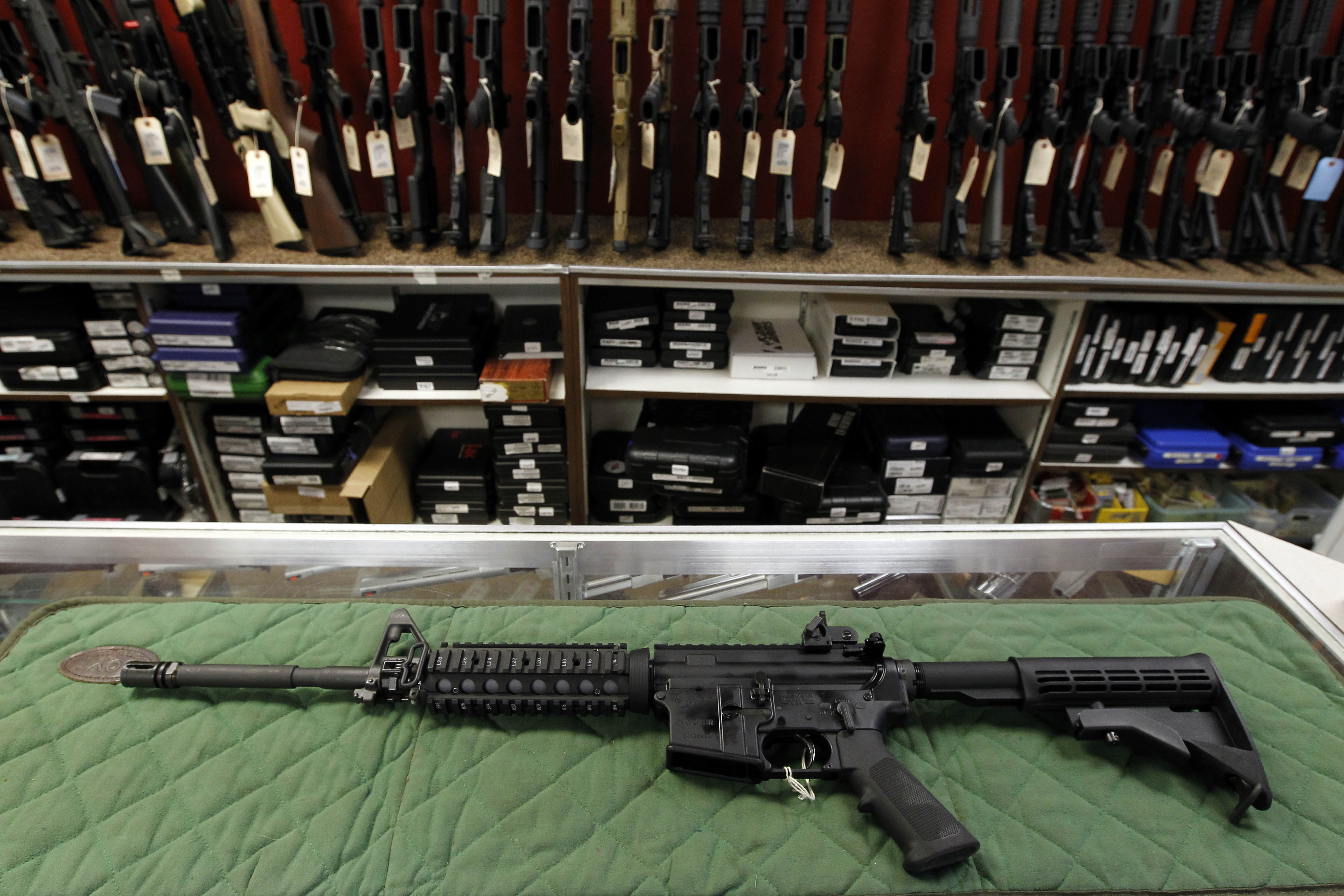 An AR-15 style rifle is displayed at a gun shop in Aurora, Colo. (AP Photo/Alex Brandon, File)