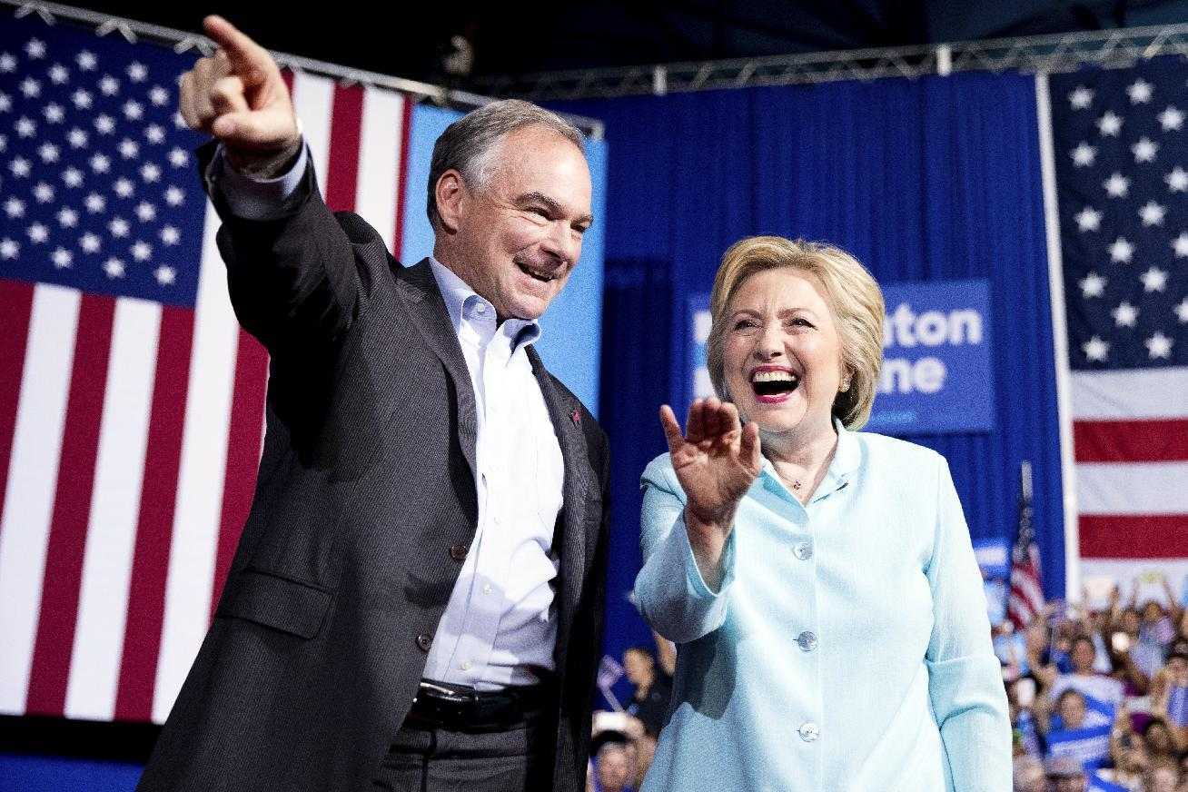The Latest: Cheers greet Tim Kaine on return to Richmond