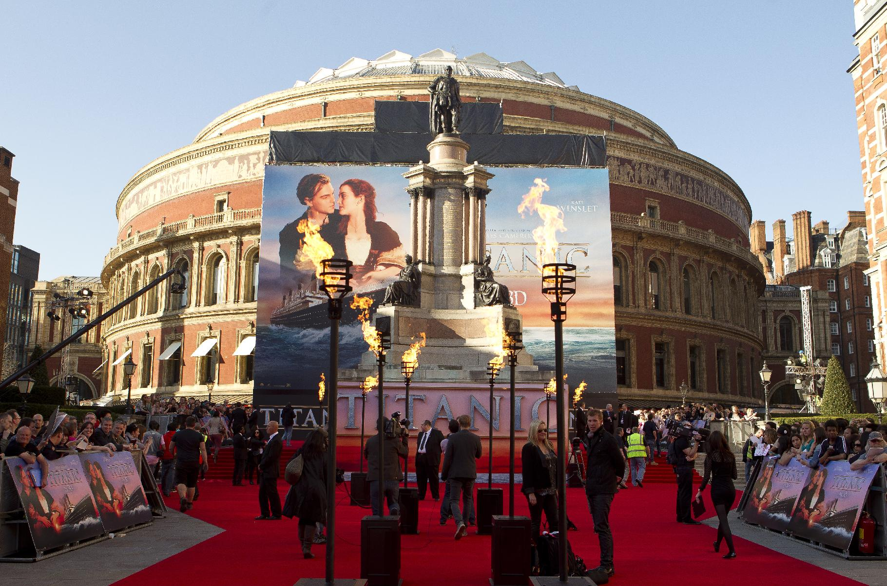 Wide shot of the red carpet of the 'Titanic 3D' UK film premiere at the Royal Albert Hall in Kensington, west London, Tuesday, March 27, 2012. The re-launch of the Titanic 3D version comes 15 years after the film was a huge box office hit. (AP Photo/Joel Ryan)