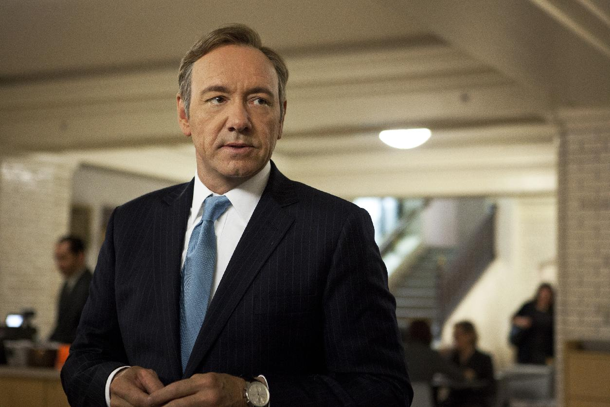 "Kevin Spacey as U.S. Congressman Frank Underwood in a scene from the Netflix original series, ""House of Cards. "" This years Emmy Awards can be a toss-up between many shows, ""House of Cards"" is a contender for Best Drama Series. (AP Photo/Netflix, Melinda Sue Gordon)"