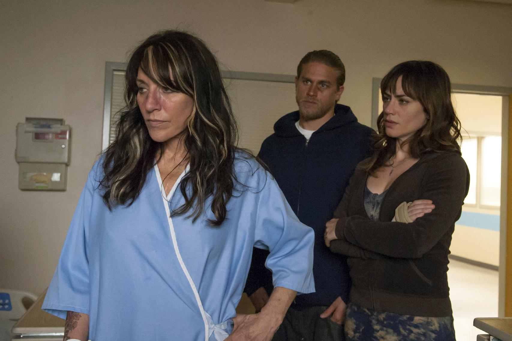 "Katey Sagal as Gemma, Charlie Hunnam as Jax, and Maggie Siff as Tara in ""Sons of Anarchy"""