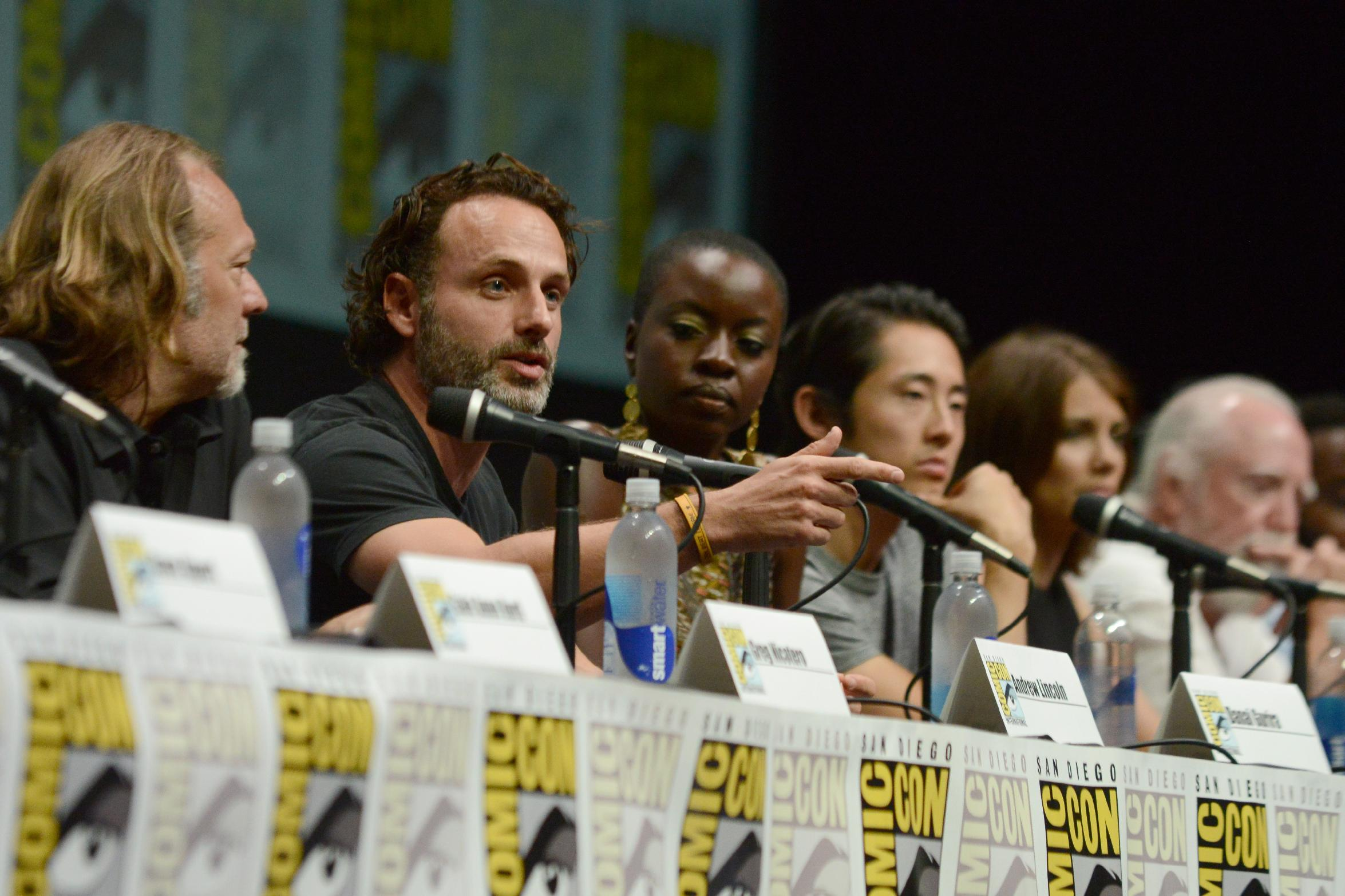 "The cast and crew of ""The Walking Dead"" in a San Diego Comic-Con panel on Friday, July 19, 2103. (Photo by Jordan Strauss/Invision/AP)"