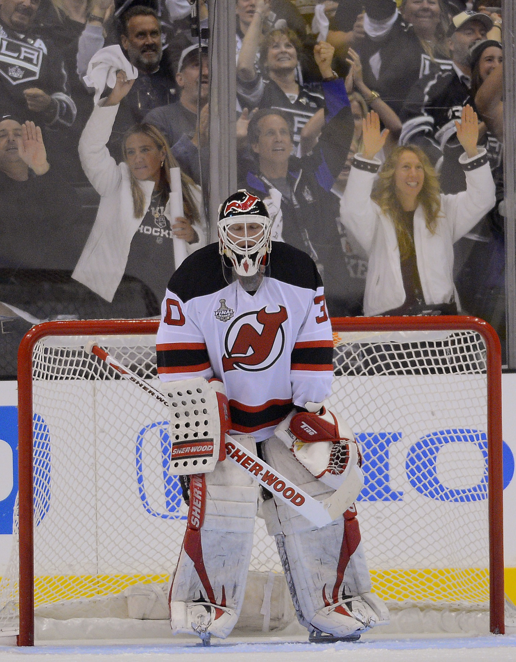 Martin Brodeur has done his part in the final, but it's tough to win when your team can't score. (AP)