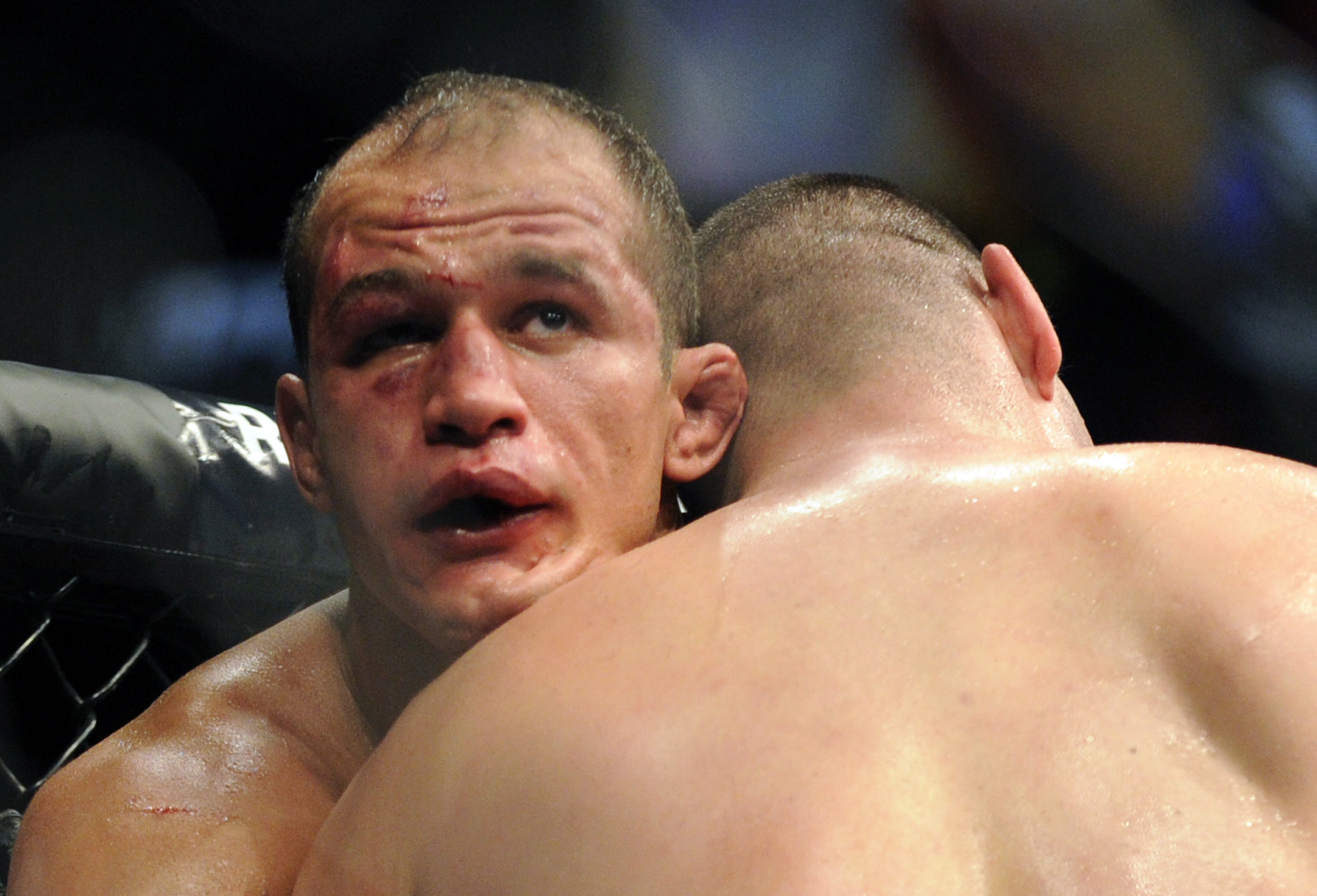 Junior dos Santos took plenty of punishment from Cain Velasquez at UFC 155. (AP)