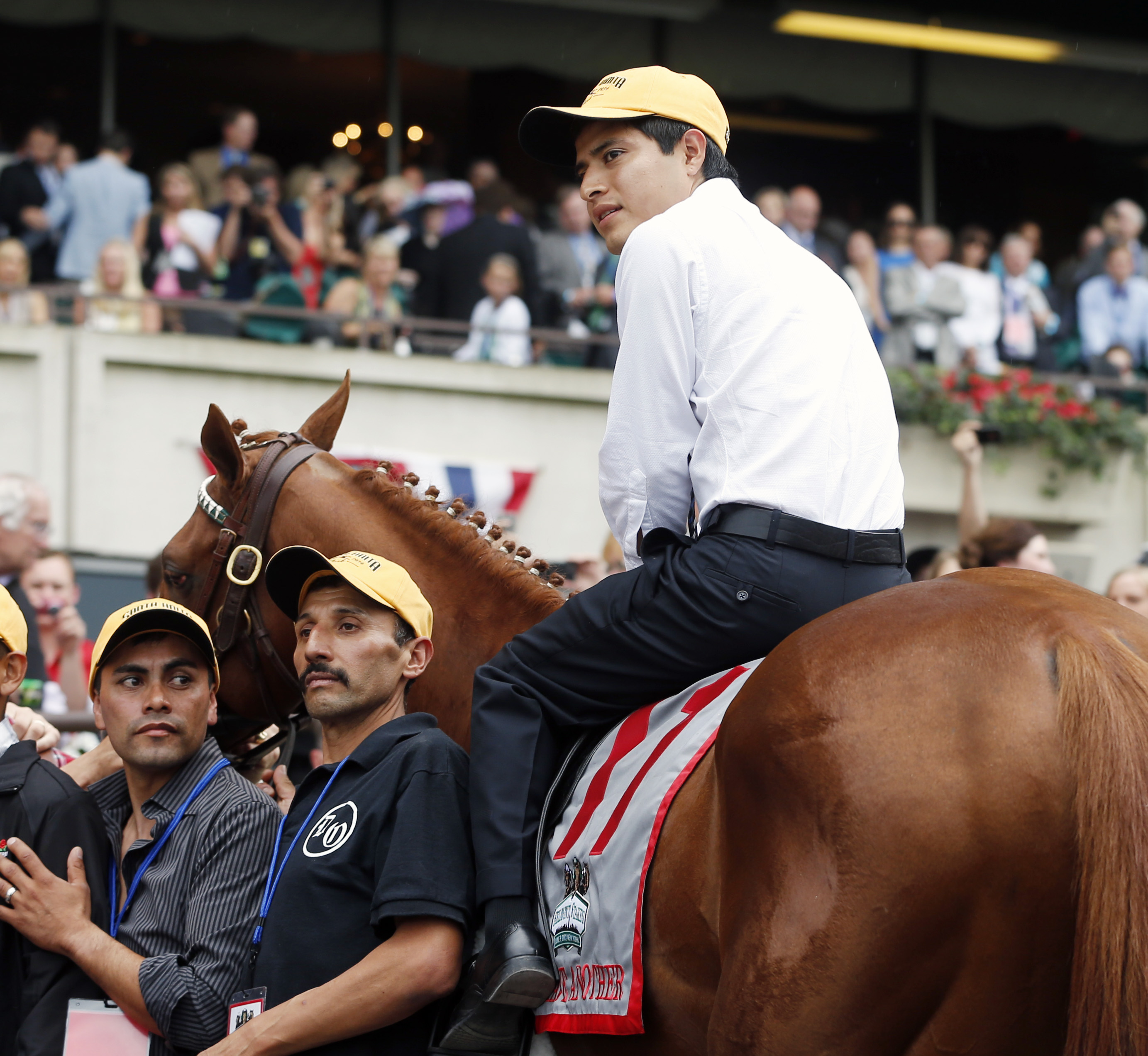 Jockey Mario Gutierrez sits atop I'll Have Another during a retirement ceremony at Belmont Park. (AP)